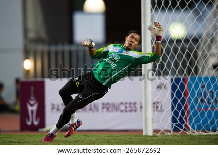 BANGKOK,THAILAND-MARCH 30:Goalkeeper Kawin Thamsatchanan of Thailand in action during the international friendly match between Thailand and Cameroon at Rajamangala Stadium on March30 2015 in,Thailand. - stock photo