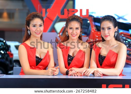 BANGKOK, THAILAND - MARCH 24: In the booth of Isuzu presented by 3 super models displayed on stage at the 36th Bangkok International Motor show on March 24, 2015 in Bangkok, Thailand.