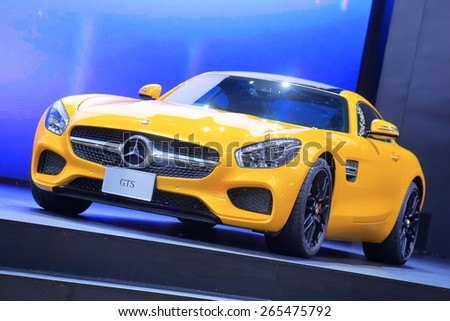 BANGKOK, THAILAND - MARCH 24 : Mercedes Benz GTS displayed on Stage at The 36th Bangkok International Motor Show during 25 March - 5 April 2015 in Bangkok, Thailand. - stock photo