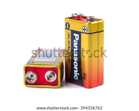 """BANGKOK, THAILAND - March 20, 2016: """"Panasonic ALKALINE """"prismatic-type battery, It is primary battery having norminal voltage of 9 volts . - stock photo"""