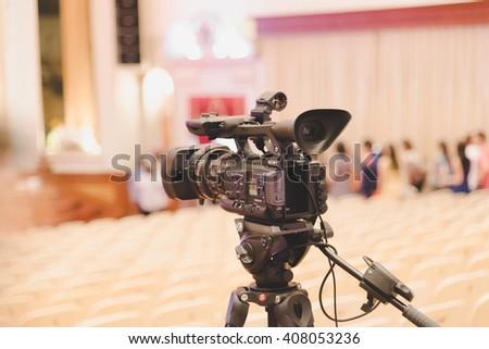 BANGKOK, THAILAND 19MARCH2016 : Professional digital video camera. tv camera in a concert hall. Digital TV camera. - stock photo