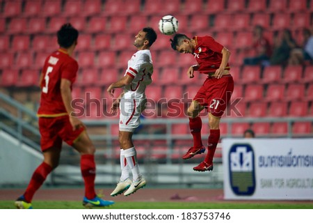 BANGKOK,THAILAND-MARCH 05:Roda Antar #20 (white)of Lebanon in action during the AFC Asian Cup 2015 Group B Qualifier between Thailand and Lebanon at Rajamangala Stadium on March 5,2014 in,Thailand.