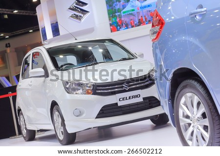 BANGKOK, THAILAND - MARCH 24 : Suzuki Celerio displayed on stage at the 36th Bangkok International Motor show  in March 24, 2015. Bangkok, Thailand. - stock photo