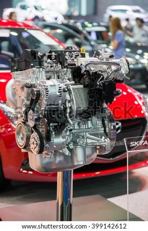 BANGKOK, THAILAND - March 29 : The Engine of Mazda car on display at The 37th Thailand Bangkok International Motor Show on March 29, 2016 in Bangkok, Thailand. - stock photo