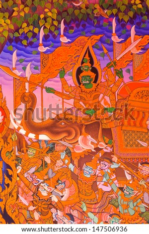 BANGKOK ,THAILAND - MARCH 24 : Traditional Thai mural painting of the Life of Buddha on temple wall at Wat Bukkhalo on March 24, 2012 in Bangkok, Thailand.