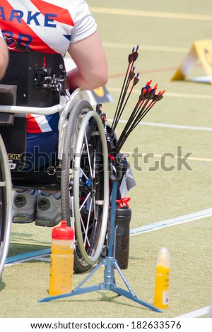 BANGKOK ,THAILAND - MARCH 15: Unidentified paraplegic archers with his arrows . in 1st Asian Archery  Grand Prix 2014  , on March 15, 2014 in Bangkok, Thailand. - stock photo