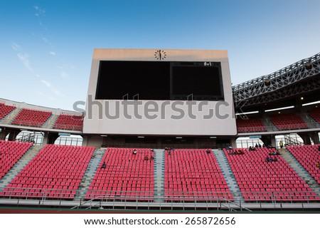BANGKOK,THAILAND-MARCH 30:Views big scoreboard of Rajamangala Stadium before match the international friendly match between Thailand and Cameroon at Rajamangala Stadium on March30 2015 in,Thailand. - stock photo