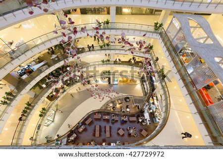Bangkok, Thailand - May 28, 2016: Aerial interior view of Central world. It is a shopping plaza and complex which is the sixth largest shopping complex in the world, owned by Central Pattana.
