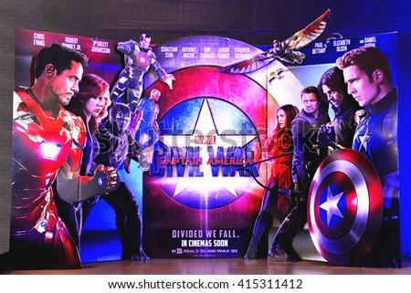 Bangkok, Thailand - May 2, 2016:  Beautiful Standee of Captain America: Civil War display at Siam Paragon Shopping Center - stock photo