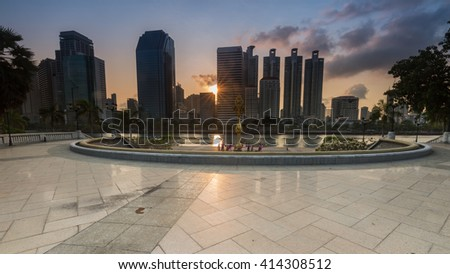 Bangkok, Thailand - May 2:Benjakitti park, Bangkok downtown city in the morning with skyline reflection on  May 2 ,2016.