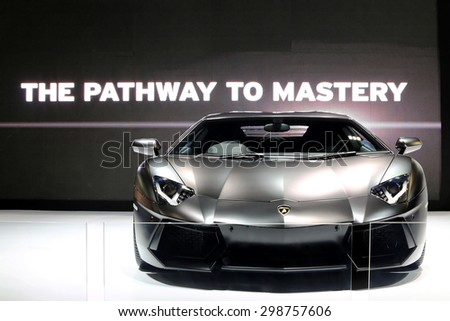 BANGKOK THAILAND - MAY 09 : black Lamborghini super car showing on exhibit space agency in BANGKOK THAILAND on MAY 09 , 2015 - stock photo