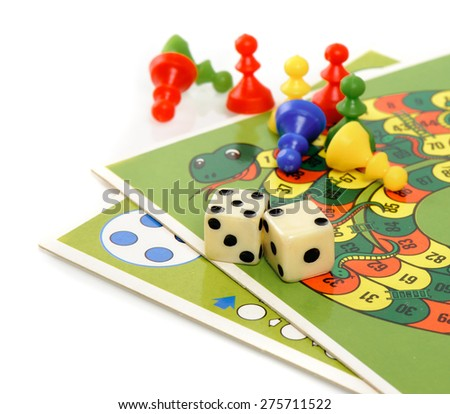 BANGKOK, THAILAND - MAY 06, 2015: Board games, dice and other equipments. - stock photo