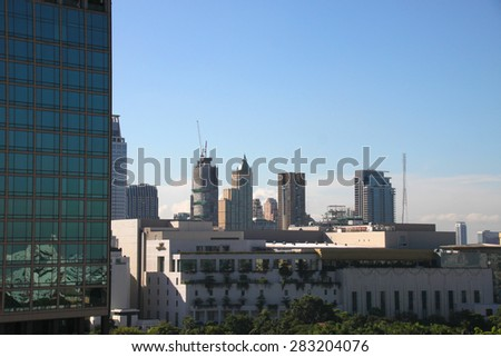 BANGKOK, THAILAND - MAY 29 : Cityscape of Bangkok on the roof top of the Asia Hotel on May 29, 2015 in Bangkok, Thailand.
