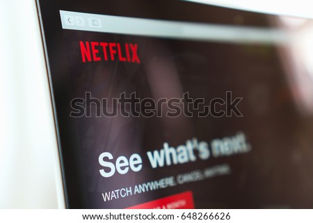 BANGKOK ,THAILAND - May 28, 2017 : Close up Netflix app icon on Laptop screen. Netflix is an international leading subscription service for watching TV episodes and movies.
