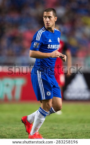 BANGKOK THAILAND MAY 30:Eden Hazard of Chelsea in action during the Singha Chelsea fc. Celebration match Thailand All-Stars and Chelsea FC at Rajamangala Stadium on May 30,2015 in Thailand. - stock photo