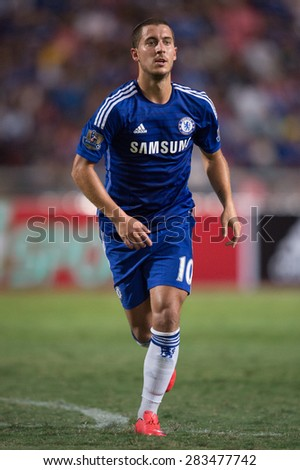 BANGKOK THAILAND MAY 30:Eden Hazard of Chelsea in action during the Singha Chelsea fc. Celebration match Thailand All-Stars and Chelsea FC Rajamangala Stadium on May 30,2015 in Thailand. - stock photo