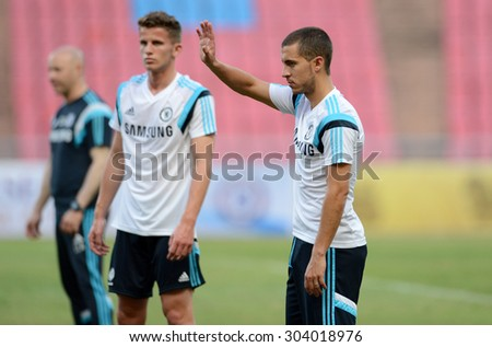 BANGKOK THAILAND MAY 29: Eden Hazard (R) of Chelsea in action during the pre-match training session at Rajamangala Stadium on May 29,2015 in Thailand.