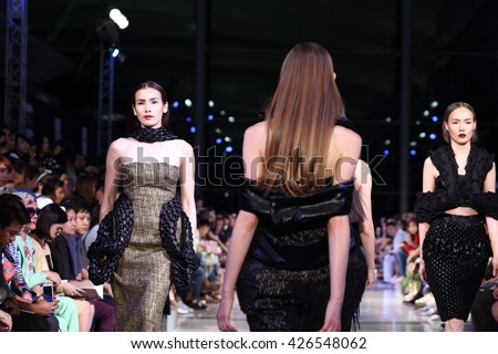 Bangkok, Thailand - 25 May 2016 : Final Thesis Fashion Show of Bangkok University to present Ready to wear, Evening Gown, Woman, Men, Kid, Model runway as young designer
