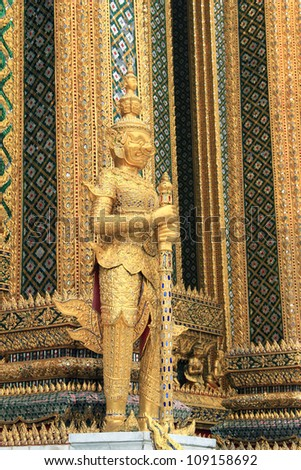 BANGKOK, THAILAND - MAY 22 : Golden statue of Kinnara at Wat Phra Kaew (officially known as Wat Phra Sri Rattana Satsadaram) in Grand Palace on May 22, 2012 in Bangkok, Thailand.