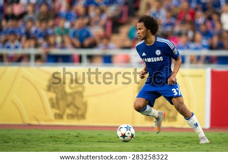 BANGKOK THAILAND MAY 30:Isaiah Brown of Chelsea in action during the Singha Chelsea fc. Celebration match Thailand All-Stars and Chelsea FC at Rajamangala Stadium on May 30,2015 in Thailand. - stock photo