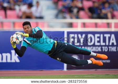 BANGKOK THAILAND MAY 30:Jamal Blackman of Chelsea in action during the Singha Chelsea fc. Celebration match Thailand All-Stars and Chelsea FC at Rajamangala Stadium on May 30,2015 in Thailand. - stock photo
