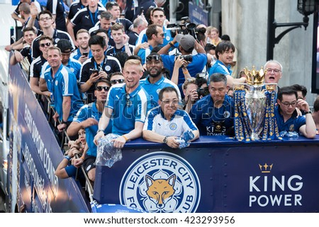 Bangkok, Thailand - May 19,2016 - Leicester City Football Club celebrates First Championship of English Premiere League 2015-16 - stock photo