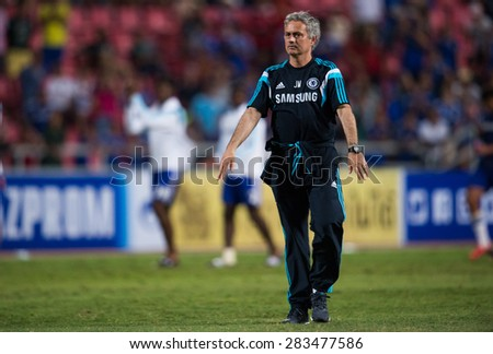 BANGKOK THAILAND MAY 30:Manager Jose Mourinho of Chelsea in action during the Singha Chelsea fc. Celebration match Thailand All-Stars and Chelsea FC Rajamangala Stadium on May 30,2015 in Thailand. - stock photo