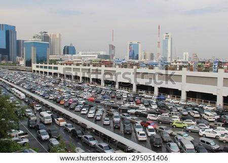 Bangkok, Thailand - May 9, 2015: Many vehicles are parking at a facility in Chatuchak district, Bangkok, Thailand. - stock photo