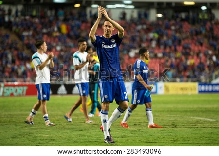 BANGKOK THAILAND MAY 30:Nemanja Matic of Chelsea acknowledges the fan during the Singha Chelsea fc.Celebration match Thailand All-Stars and Chelsea FC at Rajamangala Stadium on May30,2015 in Thailand - stock photo