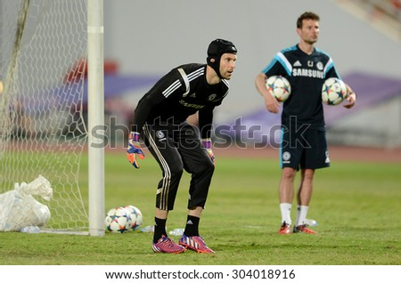 BANGKOK THAILAND MAY 29: Peter Cech goalkeeper of Chelsea in action during the pre-match training session at Rajamangala Stadium on May 29,2015 in Thailand. - stock photo