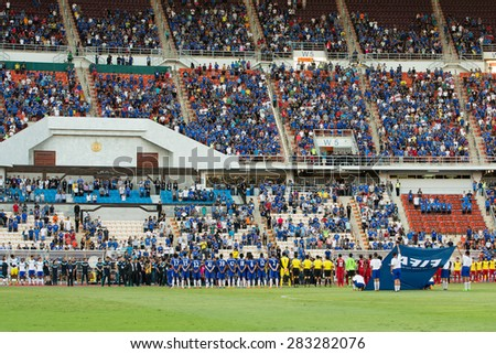 BANGKOK THAILAND MAY30:Players of Chelsea and Thailand All-Stars poses during theSingha Chelsea fc.Celebration match Thailand All-Stars and Chelsea FC at Rajamangala Stadium on May30,2015 in Thailand.