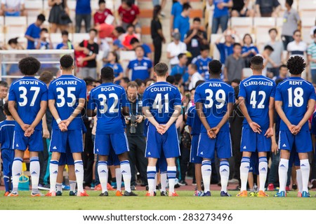 BANGKOK THAILAND MAY 30:Players of Chelsea poses during the Singha Chelsea fc. Celebration match Thailand All-Stars and Chelsea FC at Rajamangala Stadium on May 30,2015 in Thailand. - stock photo