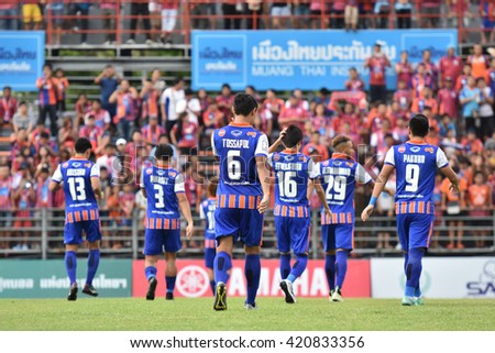 BANGKOK THAILAND-MAY8:Players of Thai Port Fc in action during Yamaha League One 2016 between Thai Port Fc and PTT Rayong FC at PAT Stadium on May8,2016 in Bangkok Thailand - stock photo
