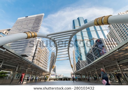 BANGKOK THAILAND - MAY 15: Sky bridge link, landmark of bangkok at Sathorn-Narathiwas intersection among the high-rise buildings on May 15, 2015 in Bangkok, Thailand.