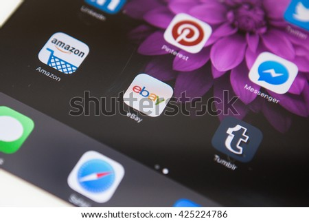 BANGKOK,THAILAND - May 23,2016: smartphone ebay app on a smartphone screen. ebay is one of the largest online auction and shopping websites.