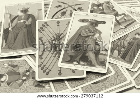 BANGKOK THAILAND - MAY 12, tarot cards with black and white style on May 12, 2015 at Bangkok Thailand