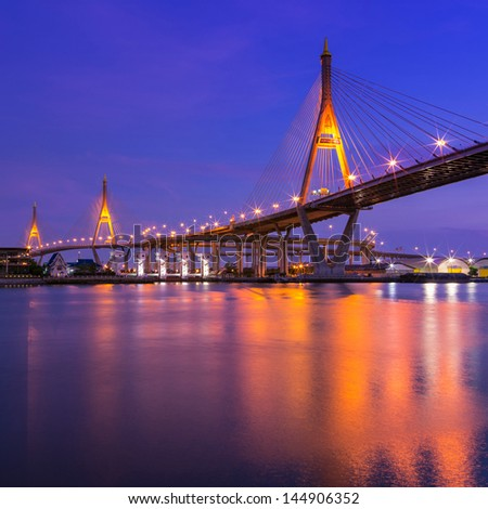 BANGKOK, THAILAND-MAY 5:The Bhumibol Bridge , one of Thailand most famous bridges, spanning the river Choa Phraya on May 5 ,2013 in Bangkok, Thailand.