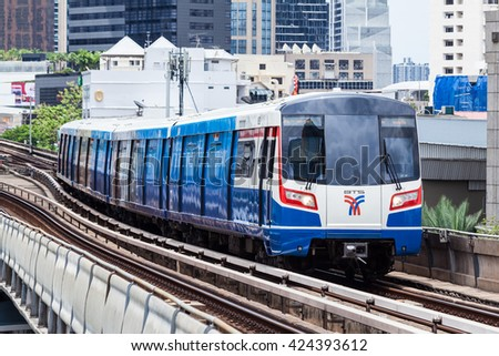 Bangkok Thailand 22 May 2016: The BTS Skytrain which made from china was service in The Asoke city