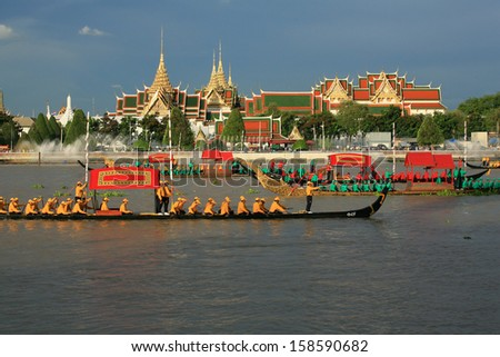 "BANGKOK, THAILAND-MAY. 30 :The rehearsals Royal barge procession on the Chao Phraya river for a traditional royal ""Kratin"" ceremony marking the end of buddhist lent on May 30, 2006 in Bangkok"