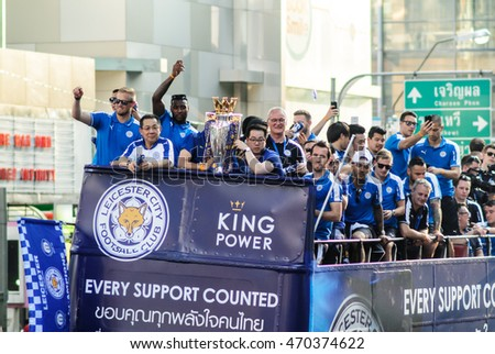 BANGKOK THAILAND - MAY : The victory parade of an English Football Club Leicester City, the champion of the 2015 - 2016 English Premier League, is held in Bangkok, Thailand on May 19, 2016.
