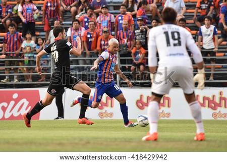 BANGKOK THAILAND-MAY8:Thiago Cunha of Thai Port Fc in action during Yamaha League One 2016 between Thai Port Fc and PTT Rayong FC at PAT Stadium on May8,2016 in Bangkok Thailand - stock photo