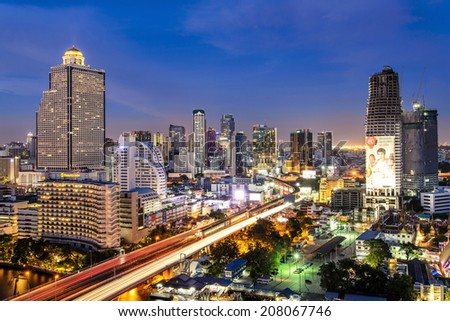 BANGKOK, THAILAND - MAY 24: Traffic in Bangkok on May 24, 2014. Bangkok is the capital city of Thailand with a population of over eight million. - stock photo
