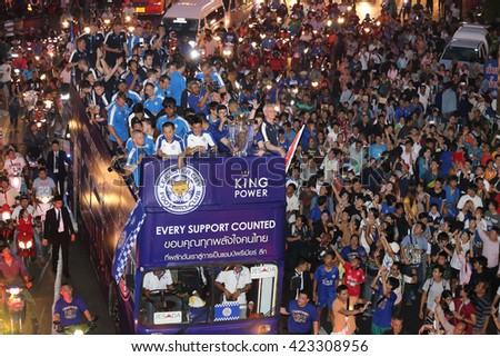 BANGKOK, THAILAND - MAY 19, 2016:  Unidentified Thai People Celebrate For Leicester City Premier League Champion Parade on open-top buses on May 19,2016.  - stock photo