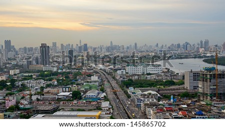 BANGKOK, THAILAND - MAY 18:View of Bangkok cityscape on May 18, 2013. Bangkok received World's Best City Award 2012. - stock photo