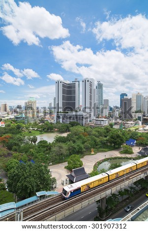Bangkok, Thailand - May 22, 2015: With the BTS Skytrain, opened in 1999, Bangkok has developed fast in areas near the train stations, like here at Phrom Phong Station on the Sukhumvit line.