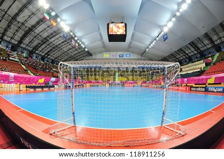 BANGKOK, THAILAND - NOV 11: A general view prior of Nimibutr Stadium before the FIFA Futsal World Cup between Thailand (R) and Spain (B) at Nimibutr Stadium on November 11, 2012 in Bangkok, Thailand. - stock photo
