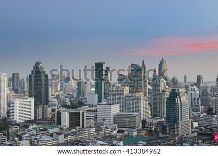 Bangkok, Thailand - Nov 2 2015 : Bangkok view from building in The evening at the Rachapralop on Nov 2, 2015. Bangkok is the capital and the most populous city of Thailand.