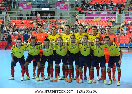 BANGKOK,THAILAND - NOV 18:Colombia team post for a photo during the FIFA Futsal World Cup between Italy and Colombia at Indoor Stadium Huamark on Nov 18,2012 in Bangkok,Thailand. - stock photo