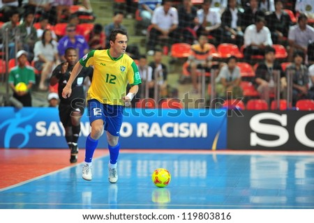 BANGKOK, THAILAND - NOV 14: Falcao player of Brazil in FIFA Futsal World Cup between Argentina (B) and Brazil (Y) at Indoor Stadium Huamark on November 14, 2012 in Bangkok, Thailand. - stock photo