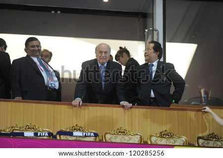 BANGKOK,THAILAND-NOV 18: FIFA President Joseph S. Blatter on V.I.P. box before to the FIFA Futsal World Cup Third Place  at Indoor Stadium Huamark on Nov18, 2012 in Bangkok,Thailand. - stock photo